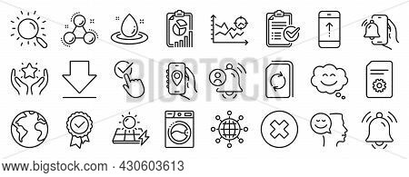 Set Of Technology Icons, Such As Solar Panels, Close Button, Chemistry Molecule Icons. Notification