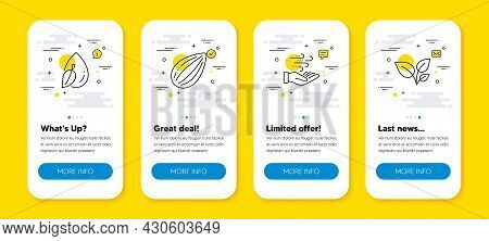 Vector Set Of Wind Energy, Almond Nut And Water Drop Line Icons Set. Ui Phone App Screens With Line