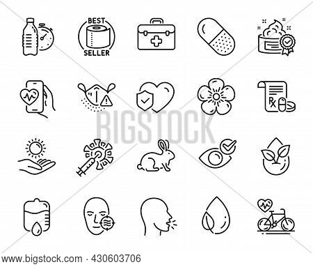 Vector Set Of Drop Counter, Leaf Dew And Organic Product Line Icons Set. Problem Skin, Medical Presc