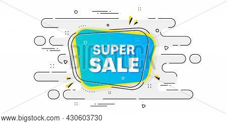 Super Sale Banner. Geometric Ad Banner On Flow Pattern. Discount Price Tag Sticker. Chat Bubble Icon