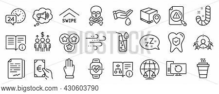 Set Of Business Icons, Such As Parcel Tracking, Megaphone, Magistrates Court Icons. Sleep, Finance,