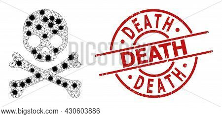 Mesh Death Skull Polygonal Icon Vector Illustration, With Black Covid Nodes. Model Is Based On Death