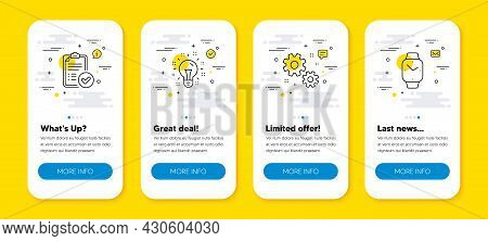 Vector Set Of Work, Idea And Approved Report Line Icons Set. Ui Phone App Screens With Line Icons. S