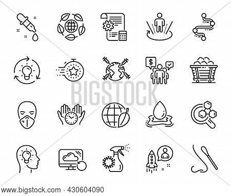 Vector Set Of Recovery Cloud, World Vaccination And Timer Line Icons Set. Environment Day, Medical M