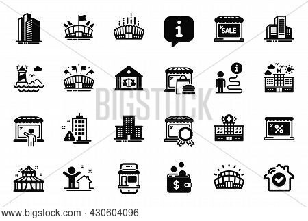 Vector Set Of Buildings Icons Related To Skyscraper Buildings, Lighthouse And Marketplace Icons. Hou
