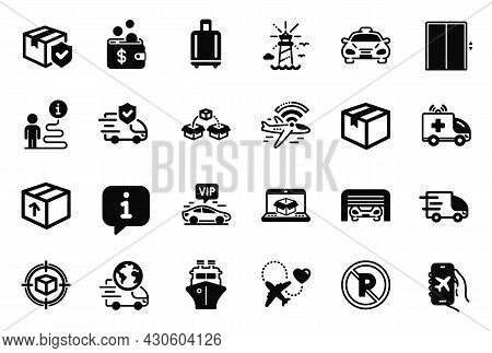 Vector Set Of Transportation Icons Related To Truck Delivery, Parking Garage And Package Icons. No P