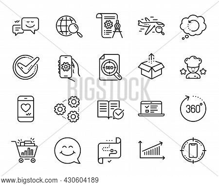 Vector Set Of Smartphone Target, 360 Degrees And Approved Documentation Line Icons Set. Seo File, Be