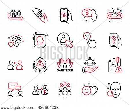Vector Set Of People Icons Related To Face Search, Helping Hand And Sallary Icons. User, Recruitment