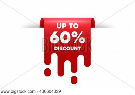 Up To 60 Percent Discount. Red Ribbon Tag Banner. Sale Offer Price Sign. Special Offer Symbol. Save