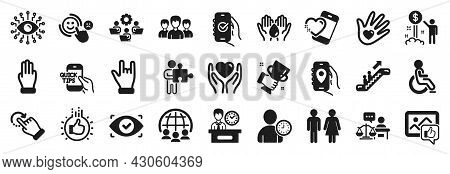 Set Of People Icons, Such As Safe Water, Disabled, Hold Heart Icons. Like Hand, Income Money, Court