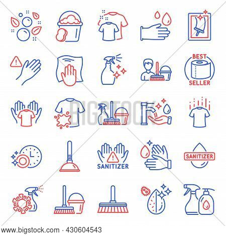 Cleaning Icons Set. Included Icon As Sponge, Clean Hands, Washing Cloth Signs. Washing Cleanser, Don
