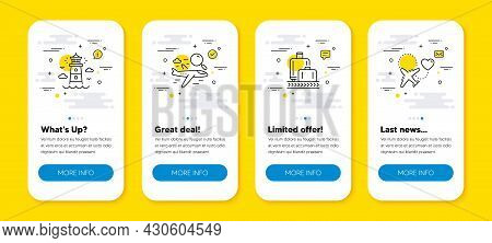 Vector Set Of Search Flight, Lighthouse And Baggage Reclaim Line Icons Set. Ui Phone App Screens Wit