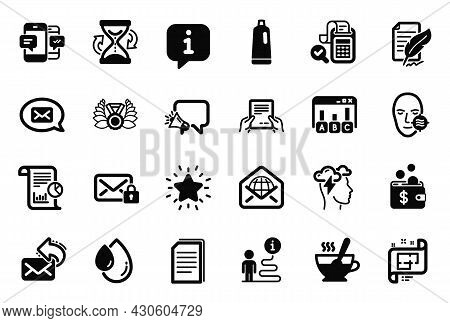 Vector Set Of Simple Icons Related To Tea Cup, Report And Messenger Icons. Shampoo, Laureate Medal A