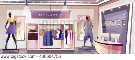 Boutique Shop Landing Page. Clothing Store Interior With Wardrobes With Hanging Stylish Clothes And