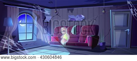 Halloween Landing Page. Ghost In Abandoned Old House. Ruined Room Interior With Cobwebs, Messy Furni