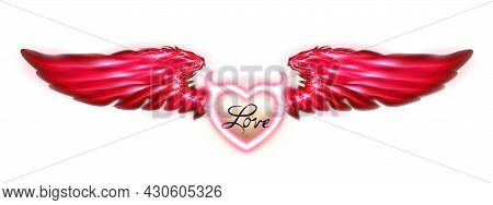 Red Wings Imp Or Devil Heart Isolated On White Background. Valentines Day Inscription Love. Fantasy