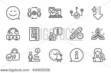 Business Icons Set. Included Icon As Video Conference, Project Deadline, Alarm Bell Signs. Engineeri
