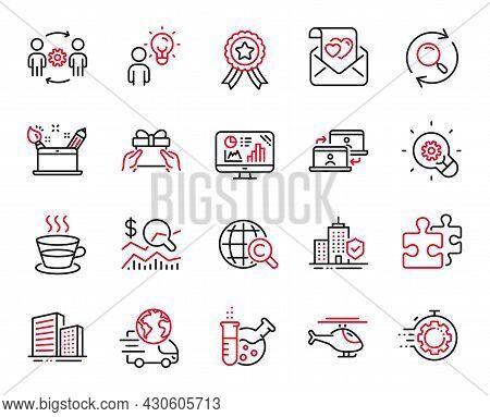 Vector Set Of Business Icons Related To Coffee Cup, Group People And Chemistry Lab Icons. Creativity