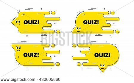 Quiz Text. Cartoon Face Transition Chat Bubble. Answer Question Sign. Examination Test Symbol. Quiz