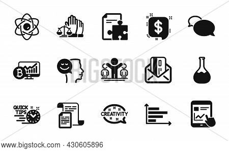 Vector Set Of Horizontal Chart, Quick Tips And Messenger Icons Simple Set. Documents, Chemistry Lab