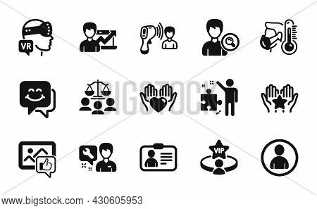 Vector Set Of Electronic Thermometer, Like Photo And Search People Icons Simple Set. Id Card, Repair