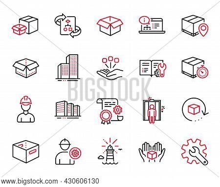 Vector Set Of Industrial Icons Related To Technical Algorithm, Open Box And Consolidation Icons. Pac