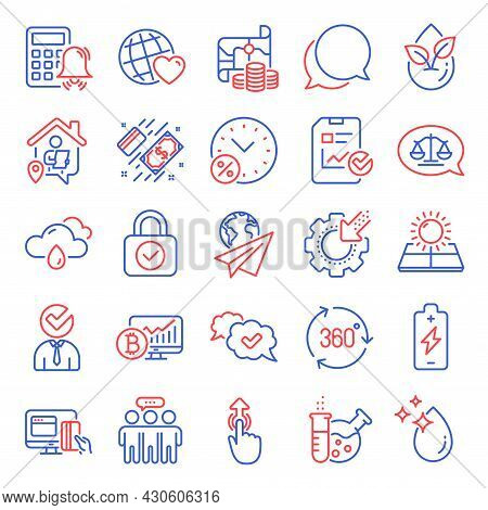 Business Icons Set. Included Icon As Rainy Weather, Bitcoin Chart, 360 Degree Signs. Chemistry Lab,