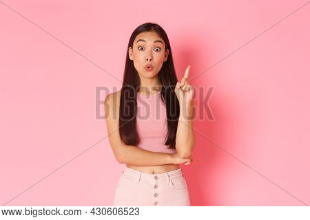 Lifestyle, Beauty And Women Concept. Creative Attractive Asian Girl In Summer Clothes Have Solution,