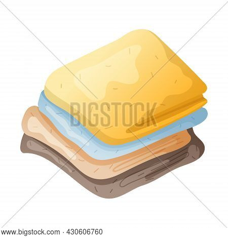 Vector Isolated Illustration Of A Stack Of Multicolored Rags Or Cleaning Napkins.
