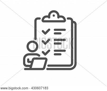 Checklist Line Icon. Clipboard Document Sign. Questioning Survey Symbol. Quality Design Element. Lin