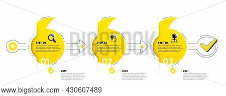 Business Infographic Template. Timeline With 3 Steps. Workflow Process Diagram With Icons. Research,