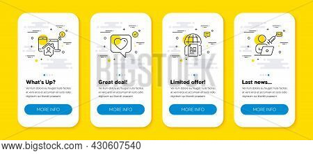Vector Set Of Internet Documents, Work Home And Heart Line Icons Set. Ui Phone App Screens With Line