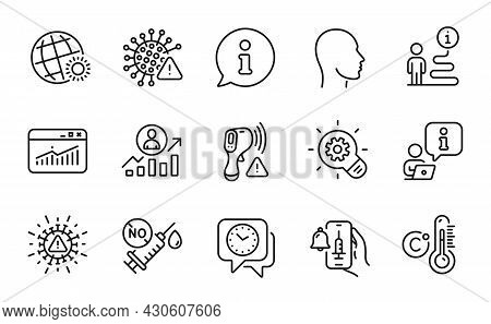 Science Icons Set. Included Icon As Head, Coronavirus Vaccine, Covid Virus Signs. Career Ladder, Wor