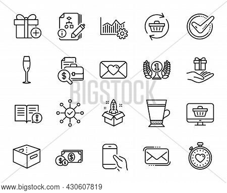 Vector Set Of Add Gift, Champagne Glass And Hold Smartphone Line Icons Set. Operational Excellence,