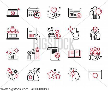 Vector Set Of Business Icons Related To Coffee Shop, Financial Goal And Cleaning Liquids Icons. Reje