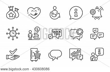 Technology Icons Set. Included Icon As Refrigerator, Chat Messages, Loyalty Points Signs. Quick Tips