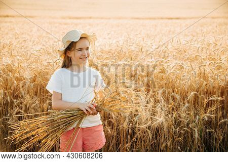 Happy Little Girl With Hat Holds Ears Of Wheat In Her Hands. Portrait Of A Kid Girl In A Wheat Field