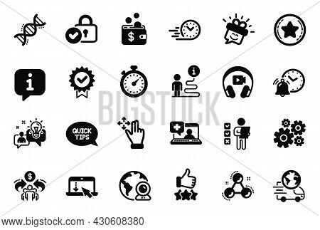 Vector Set Of Technology Icons Related To Smile, Chemistry Dna And Voting Ballot Icons. Loyalty Star
