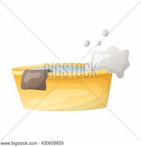 Vector Illustration Of A Cartoon Basin With Soapy Water And A Rag Or Napkin For Washing And Cleaning