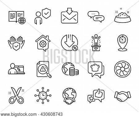 Vector Set Of Internet Book, Loan Percent And Timer Line Icons Set. Security, Search Document And Fa
