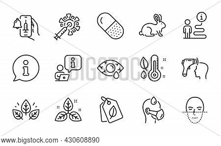 Healthcare Icons Set. Included Icon As Organic Tested, Electronic Thermometer, Fair Trade Signs. Cap