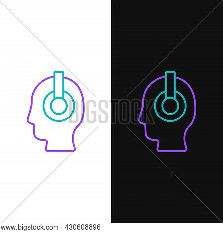 Line Freelancer Icon Isolated On White And Black Background. Freelancer Man Working On Laptop At His