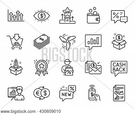 Vector Set Of Money Transfer, New And Delivery Discount Line Icons Set. Wallet Money, Post Package A