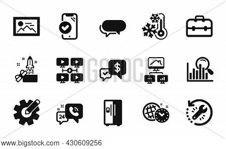 Vector Set Of Video Conference, Time Management And Search Icons Simple Set. Portfolio, Messenger An
