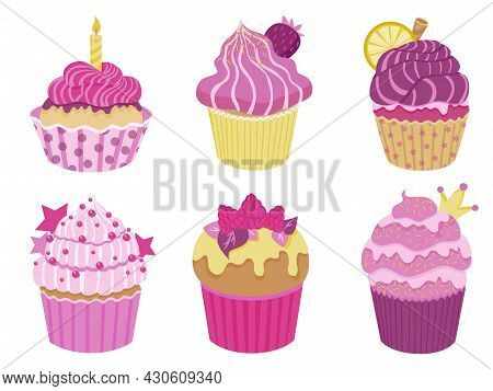 Set Of Cute Little Cupcakes With Cream And Berries. Delicious Desert With Different Decor. Pink And