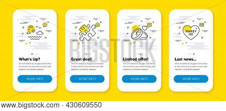 Vector Set Of Puzzle, Travel Sea And Marriage Rings Line Icons Set. Ui Phone App Screens With Line I