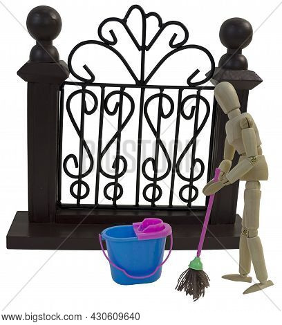Mopping In Front Of The Fancy Gate