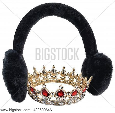Fuzzy Ear Muffs And Crown To Keep The Ice Queen Warm In The Winter
