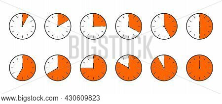 Countdown Timer Or Stopwatch Icons Set. Clocks With Different Orange Minute Time Intervals Isolated