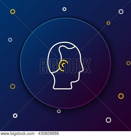 Line Baldness Icon Isolated On Blue Background. Alopecia. Colorful Outline Concept. Vector